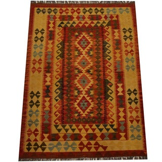 Herat Oriental Afghan Hand-woven Vegetable Dye Wool Kilim (4'2 x 5'10)