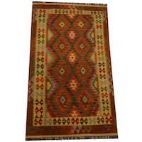 Herat Oriental Afghan Hand-woven Vegetable Dye Wool Kilim - 3'10 x 6'6