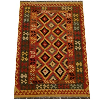 Herat Oriental Afghan Hand-woven Vegetable Dye Wool Kilim (4'1 x 5'11)