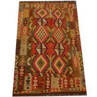 Handmade Herat Oriental Afghan Vegetable Dye Wool Kilim (Afghanistan) - 4'4 x 6'7