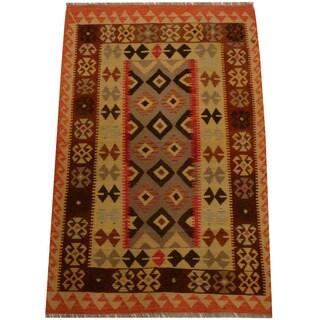 Herat Oriental Afghan Hand-woven Vegetable Dye Wool Kilim (4' x 6'3)