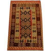 Herat Oriental Afghan Hand-woven Vegetable Dye Wool Kilim - 4' x 6'3