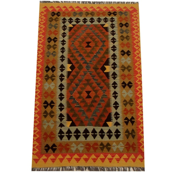 Herat Oriental Afghan Hand-woven Vegetable Dye Wool Kilim - 3'9 x 6'