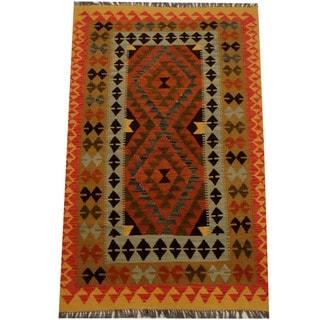 Herat Oriental Afghan Hand-woven Vegetable Dye Wool Kilim (3'9 x 6')