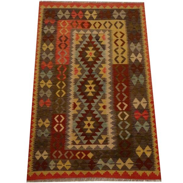 Herat Oriental Afghan Hand-woven Vegetable Dye Wool Kilim (3'9 x 5'11) - 3'9 x 5'11