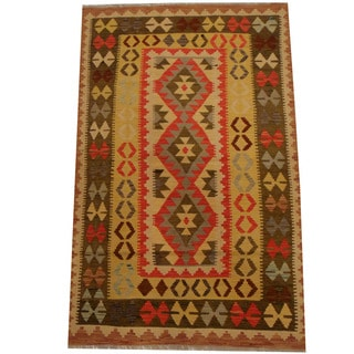 Herat Oriental Afghan Hand-woven Vegetable Dye Wool Kilim (3'9 x 5'10)