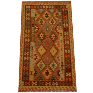 Herat Oriental Afghan Hand-woven Vegetable Dye Wool Kilim (3'11 x 6'7)