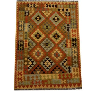 Herat Oriental Afghan Hand-woven Vegetable Dye Wool Kilim (4'2 x 5'10)