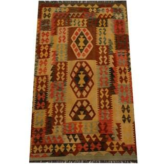 Herat Oriental Afghan Hand-woven Vegetable Dye Wool Kilim (4' x 6'7)