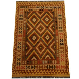 Herat Oriental Afghan Hand-woven Vegetable Dye Wool Kilim (4'1 x 6')