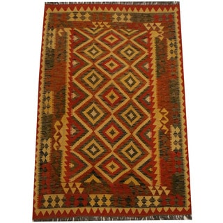 Herat Oriental Afghan Hand-woven Vegetable Dye Wool Kilim (4'3 x 6'3)