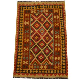 Herat Oriental Afghan Hand-woven Vegetable Dye Wool Kilim (4' x 6')
