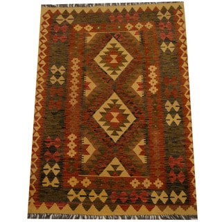 Herat Oriental Afghan Hand-woven Vegetable Dye Wool Kilim (4'3 x 5'8)