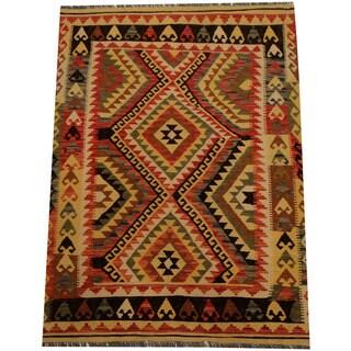 Handmade Herat Oriental Afghan Vegetable Dye Wool Kilim (Afghanistan) - 4'4 x 5'10