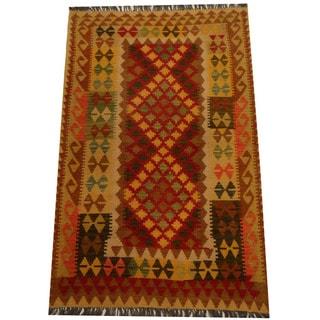 Herat Oriental Afghan Hand-woven Vegetable Dye Wool Kilim (3'11 x 5'11)