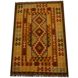 Herat Oriental Afghan Hand-woven Vegetable Dye Wool Kilim (4'1 x 5'8)