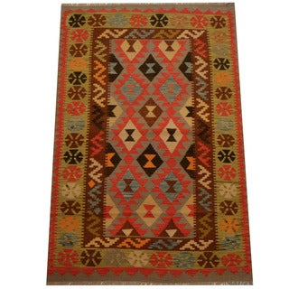 Herat Oriental Afghan Hand-woven Vegetable Dye Wool Kilim (4' x 5'10)