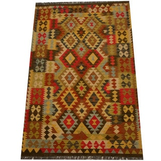Herat Oriental Afghan Hand-woven Vegetable Dye Wool Kilim (4'4 x 6'6)