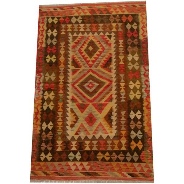 Herat Oriental Afghan Hand-woven Vegetable Dye Wool Kilim (4' x 6'1)