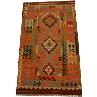 Herat Oriental Afghan Hand-woven Vegetable Dye Wool Kilim (3'11 x 6'8)