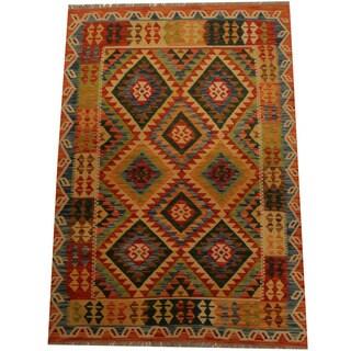 Herat Oriental Afghan Hand-woven Vegetable Dye Wool Kilim (4' x 5'10)