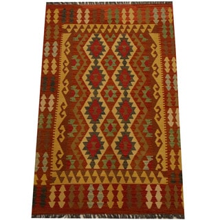 Herat Oriental Afghan Hand-woven Vegetable Dye Wool Kilim (4'3 x 6'6)