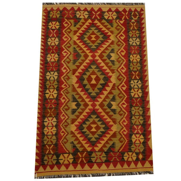Herat Oriental Afghan Hand-woven Vegetable Dye Wool Kilim (3'11 x 6'2)