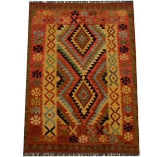 Herat Oriental Afghan Hand-woven Vegetable Dye Wool Kilim (4'3 x 5'9)