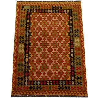 Herat Oriental Afghan Hand-woven Vegetable Dye Wool Kilim (4'3 x 5'8)