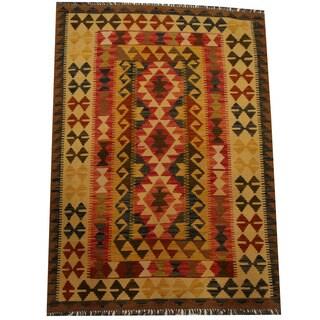Herat Oriental Afghan Hand-woven Vegetable Dye Wool Kilim (4' x 5'8)