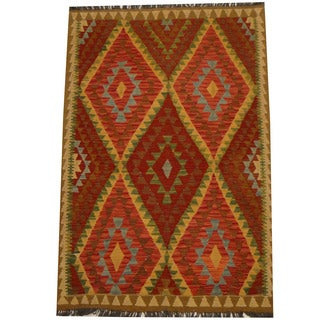 Herat Oriental Afghan Hand-woven Vegetable Dye Wool Kilim (4' x 6'1)