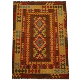 Herat Oriental Afghan Hand-woven Vegetable Dye Wool Kilim (4'3 x 5'11)
