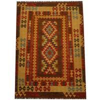 Herat Oriental Afghan Hand-woven Vegetable Dye Wool Kilim (4'3 x 5'11) - 4'3 x 5'11