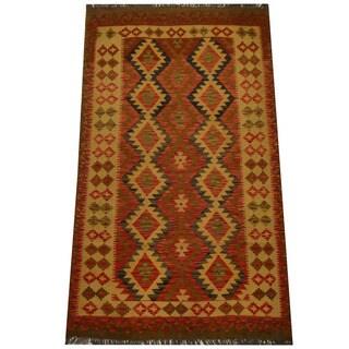 Herat Oriental Afghan Hand-woven Vegetable Dye Wool Kilim (4'1 x 6'11)