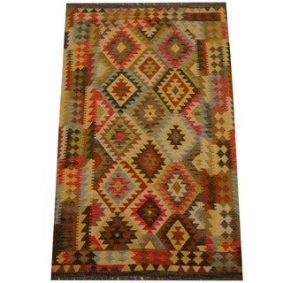 Herat Oriental Afghan Hand-woven Vegetable Dye Wool Kilim (4'2 x 6'7)