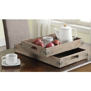 Convenience Concepts 'Wyoming' Brown Wood/Metal Two-piece Tray Set