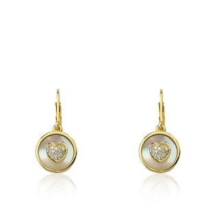 Little Miss Twin Stars Flower Girl 14K Gold-plated Coin Pearl and Cz Heart Dangle Leverback Earrings