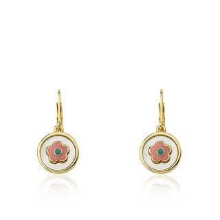 Little Miss Twin Stars 14k Gold-plated Coin Pearl Enamel Flower Girl Dangle Leverback Earrings