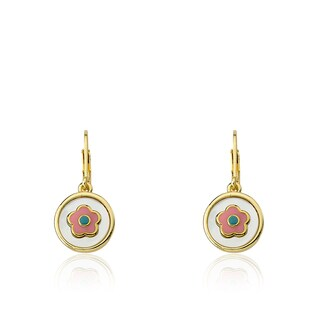 Little Miss Twin Stars 14k Gold-plated Coin Pearl Enamel Flower Girl Dangle Leverback Earrings