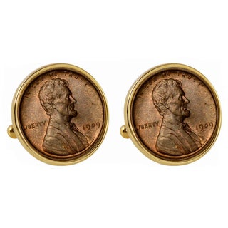 American Coin Treasures 1909 First Year of Issue Lincoln Penny Goldtone Bezel Cuff Links