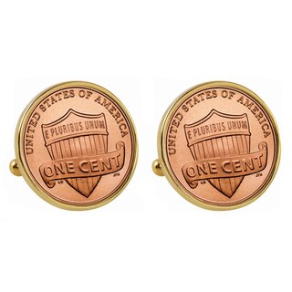 American Coin Treasures Lincoln Union Shield Penny Goldtone Bezel Cuff Links