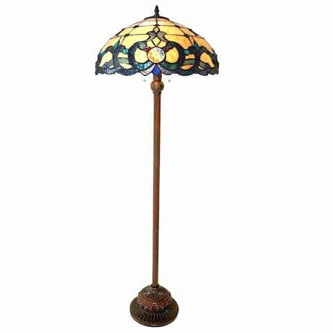 Tiffany Style Victorian Design 2-light Antique Bronze Floor Lamp