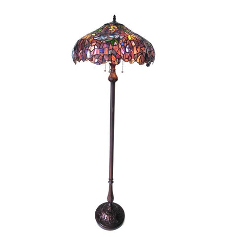 Chloe Tiffany Style Wisteria Floral Design 3-light Antique Bronze Floor Lamp