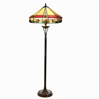 Chloe Tiffany Style Mission Design 2-light Antique Bronze Floor Lamp