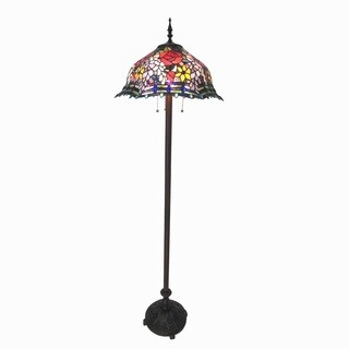 Chloe Tiffany Style Wisteria Floral Design 3-light Antique Bronze Floor Lamp