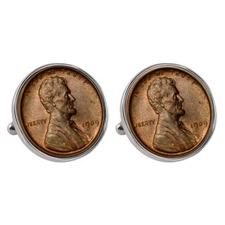 American Coin Treasures 1909 'First-Year-of-Issue' Lincoln Penny Silvertone Bezel Cufflinks