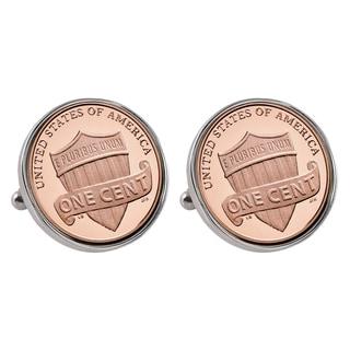 American Coin Treasures Silvertone Lincoln Union Shield Penny Bezel Cuff Links