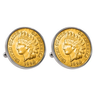 American Coin Treasures Gold-layered 1800s Indian Penny Silvertone Bezel Cuff Links