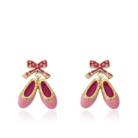 Little Miss Twin Stars Ballet Beauty 14k Gold-plated Enamel Ballet Shoes Dangle Earring