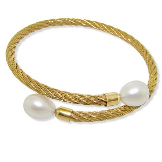 DaVonna Stainless Steel 9-10mm White Long Shape Pearl Expandable Bangle Bracelet.